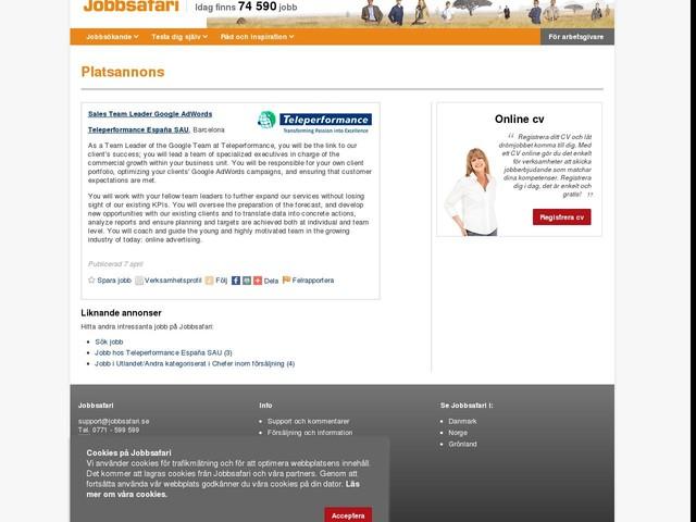 Sales Team Leader Google AdWords, Teleperformance España SAU