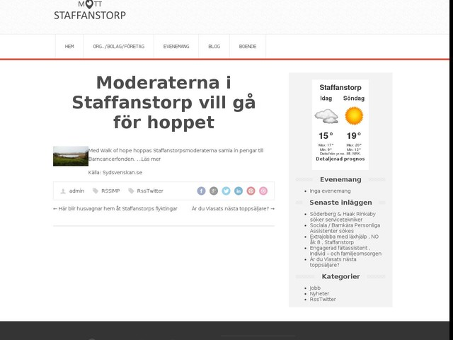 Moderaterna i Staffanstorp vill gå för hoppet