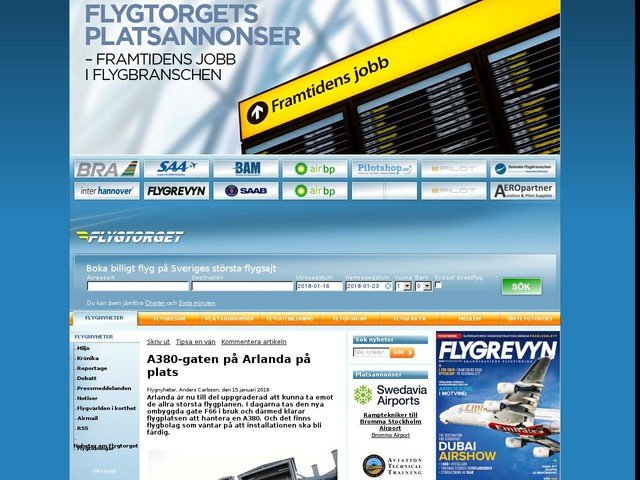 A380-gaten på Arlanda på plats