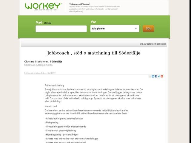 Jobbcoach , stöd o matchning till Södertälje