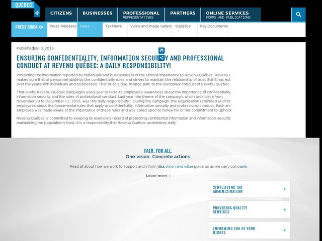 Ensuring confidentiality, information security and professional conduct at Revenu Québec: a daily responsibility!