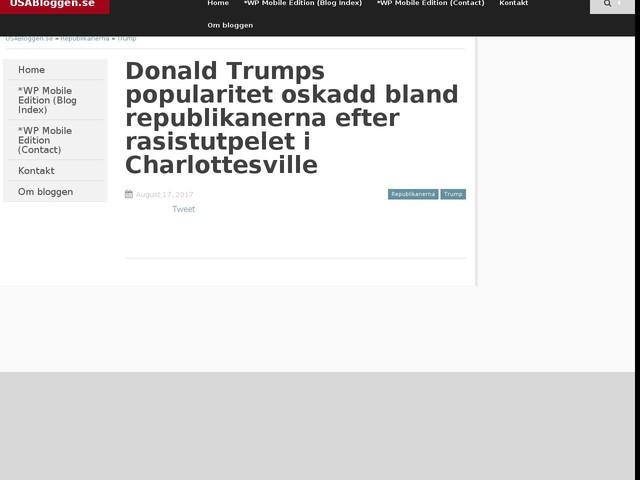 Donald Trumps popularitet oskadd bland republikanerna efter rasistutpelet i Charlottesville