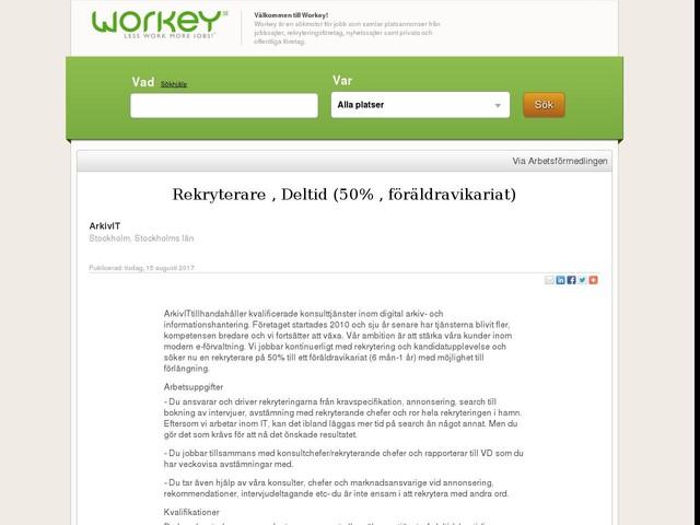 Rekryterare , Deltid (50% , föräldravikariat)