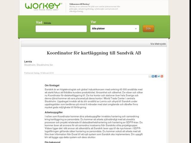Koordinator för kartläggning till Sandvik AB
