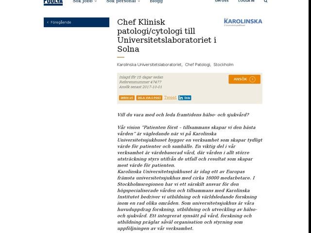 Chef Klinisk patologi/cytologi till Universitetslaboratoriet i Solna