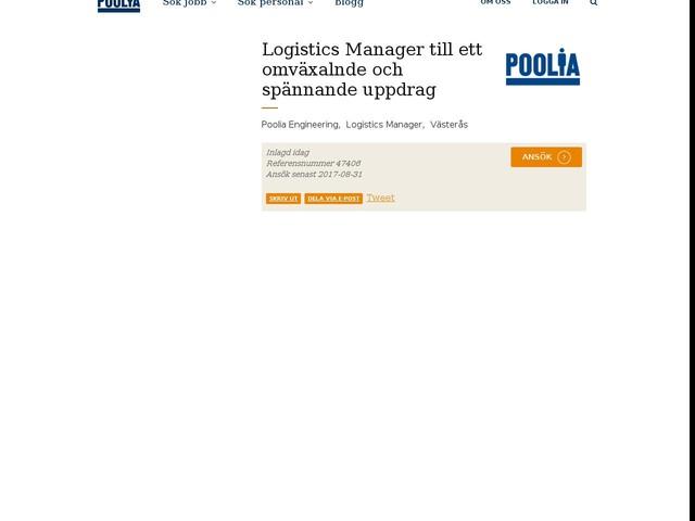Logistics Manager till ett omväxalnde och spännande uppdrag