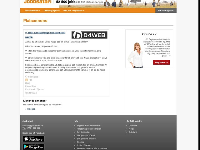 Vi söker svenskspråkiga frilansskribenter, D4WEB