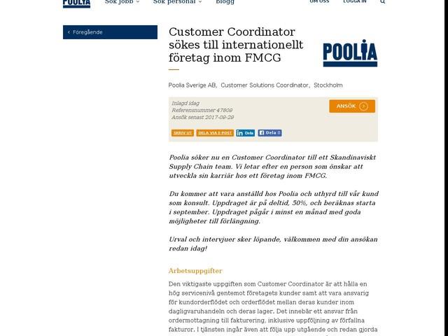 Customer Coordinator sökes till internationellt företag inom FMCG