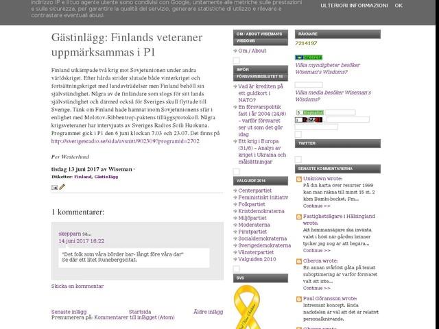 Gästinlägg: Finlands veteraner uppmärksammas i P1