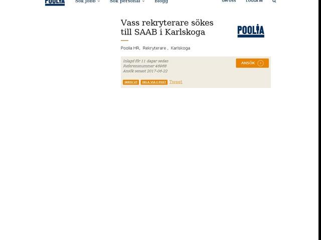 Vass rekryterare sökes till SAAB i Karlskoga