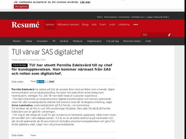 TUI värvar SAS digitalchef