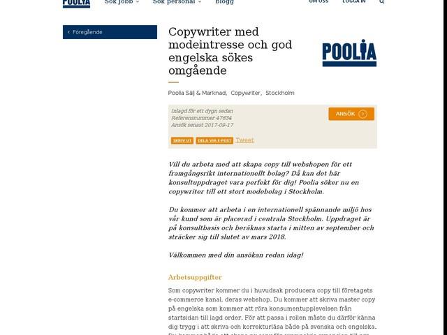 Copywriter med modeintresse och god engelska sökes omgående
