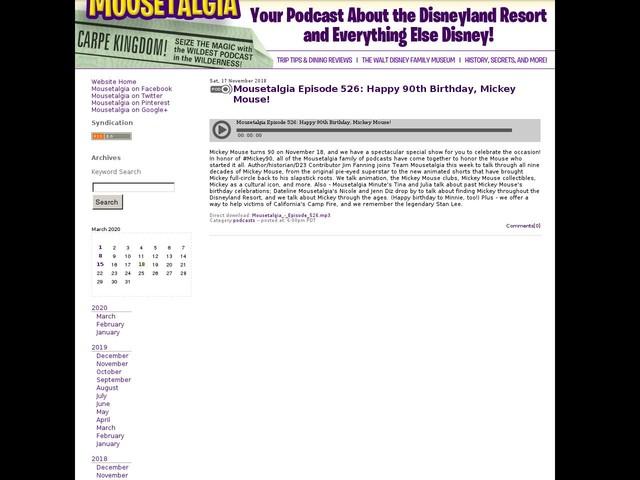 Mousetalgia Episode 526: Happy 90th Birthday, Mickey Mouse!