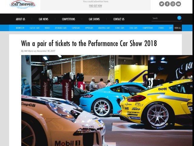 Win a pair of tickets to the Performance Car Show 2018