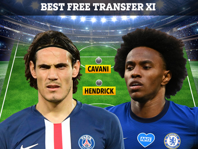 Best XI of free transfers in Europe including Cavani, Willian and David Silva as clubs prepare for next season