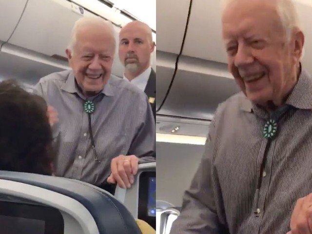Jimmy Carter shook everyone's hands on a flight to Atlanta because that's his thing