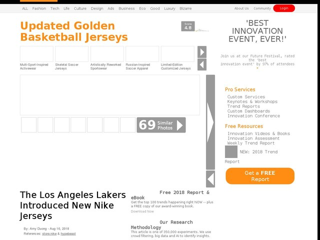 4036138a6eb Updated Golden Basketball Jerseys - The Los Angeles Lakers Introduced New  Nike Jerseys (TrendHunter.com)