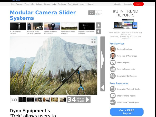 Modular Camera Slider Systems - Dyno Equipment's 'Trek' allows users to capture fluid motion videos (TrendHunter.com)