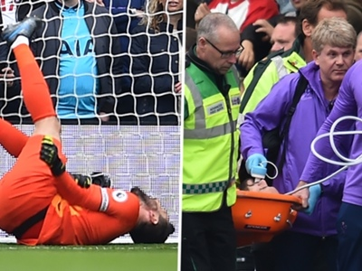 Lloris stretchered off in agony after suffering serious injury in gifting Brighton the lead
