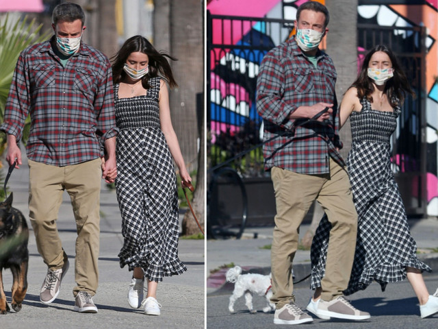 Ben Affleck and Ana de Aramas mask up to walk their dogs in LA