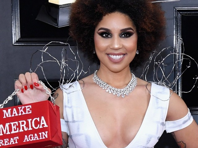 Singer Joy Villa wore a 'Build the Wall' dress with a 'Make America Great Again' purse at the Grammys, and it's not the first time she's worn a pro-Trump dress