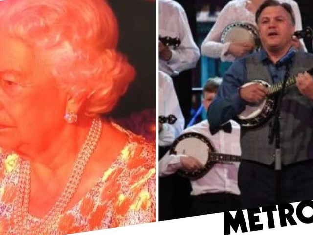 The Queen is not amused as Ed Balls plays the banjolele at her birthday bash