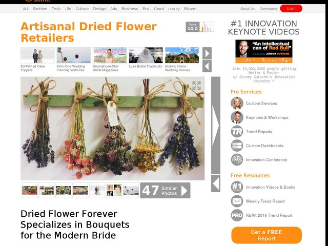 Artisanal Dried Flower Retailers - Dried Flower Forever Specializes in Bouquets for the Modern Bride (TrendHunter.com)