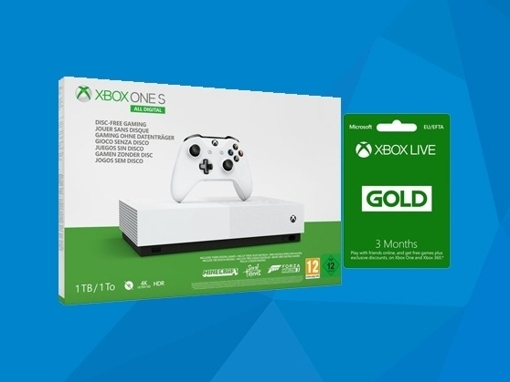 Get an Xbox One S All-Digital Edition with 3 games and Gold for under £200