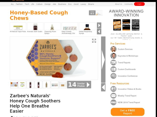 Honey-Based Cough Chews - Zarbee's Naturals' Honey Cough Soothers Help One Breathe Easier (TrendHunter.com)