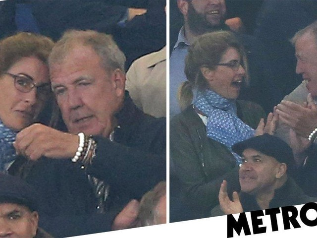 The Grand Tour's Jeremy Clarkson loses focus on football match to snuggle girlfriend Lisa Hogan