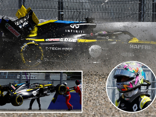 F1 star Ricciardo smashes into barriers in high-speed crash in Styrian GP practice before being taken to medical centre