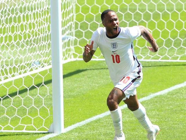 Man City player Raheem Sterling reacts to winning goal in England win vs Croatia