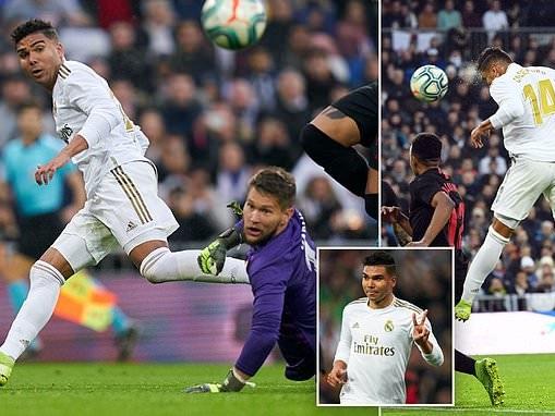 Real Madrid 2-1 Sevilla: Casemiro double sends hosts top