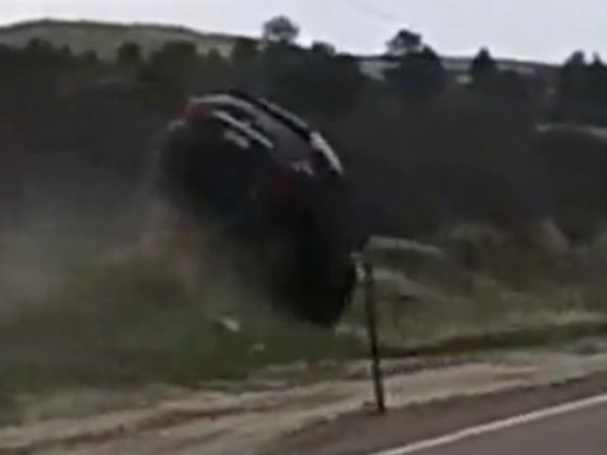 Terrifying Footage Shows The Moment A Driver Nearly Flips His Car After Passing Out