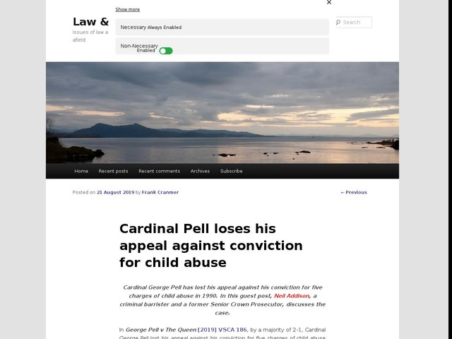 Cardinal Pell loses his appeal against conviction for child abuse