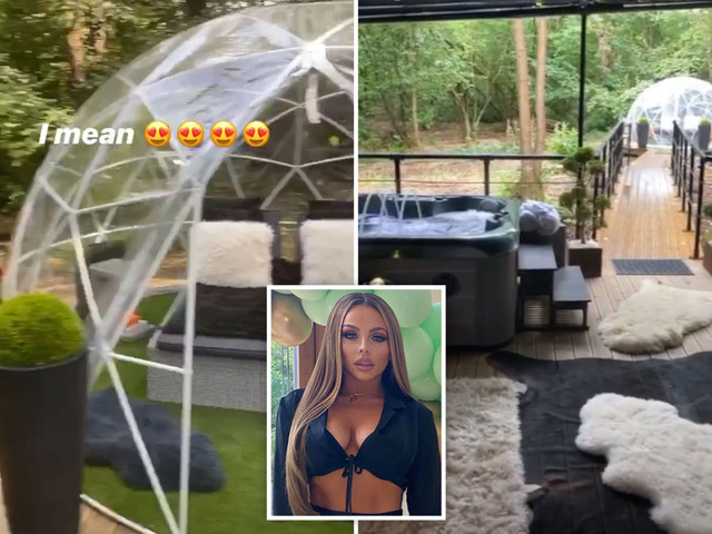 Inside Jesy Nelson's luxurious staycation in a cabin hideaway with an igloo, hot tub and fur interiors