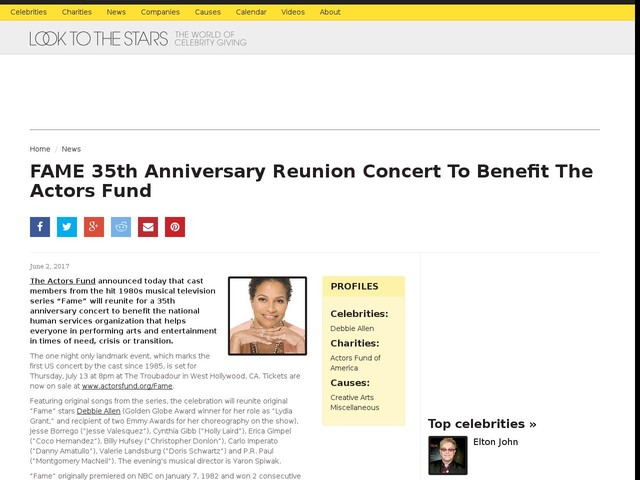 FAME 35th Anniversary Reunion Concert To Benefit The Actors Fund