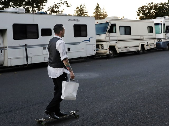 Two years after angry Silicon Valley locals chanted 'build a wall' to keep the homeless out, the city is reportedly cracking down on a growing RV camp outside Google's HQ (GOOG, GOOGL)