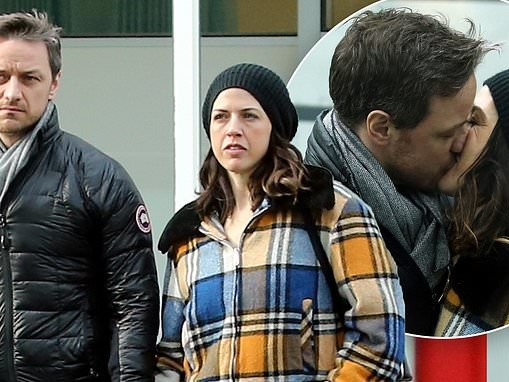 James McAvoy packs on the PDA with girlfriend Lisa Liberati as they brave the chill in London