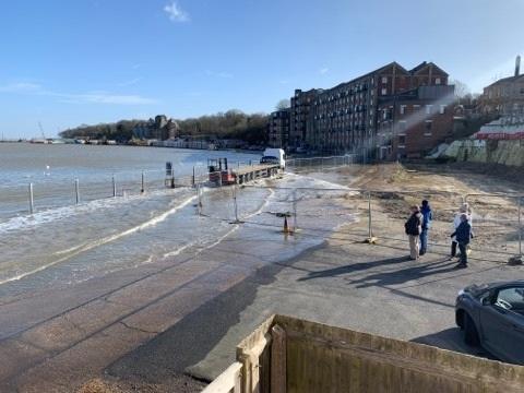 River Stour high tide floods Mistley Quay