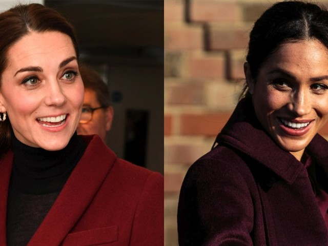 53aca0366d8a Meghan Markle and Kate Middleton coordinated in festive shades of red for 2  separate solo engagements on the same day