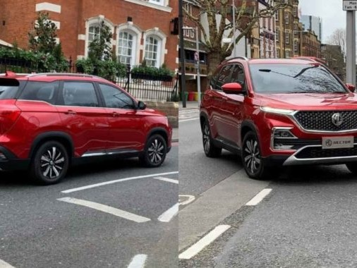 MG Hector Spotted Camouflage Free During a TVC Shoot in London