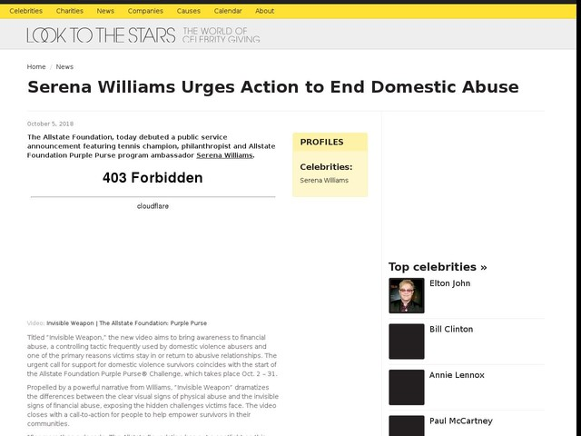 Serena Williams Urges Action to End Domestic Abuse