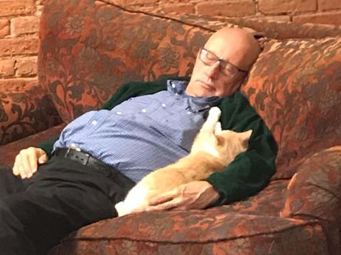A man who volunteers every day at his local animal shelter is going viral for taking naps with the special needs cats — and the photos will melt your heart