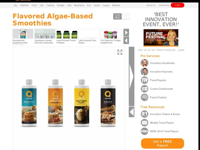 Flavored Algae-Based Smoothies - Algarithm's Omega Smoothies are Offered in Food Flavors (TrendHunter.com)