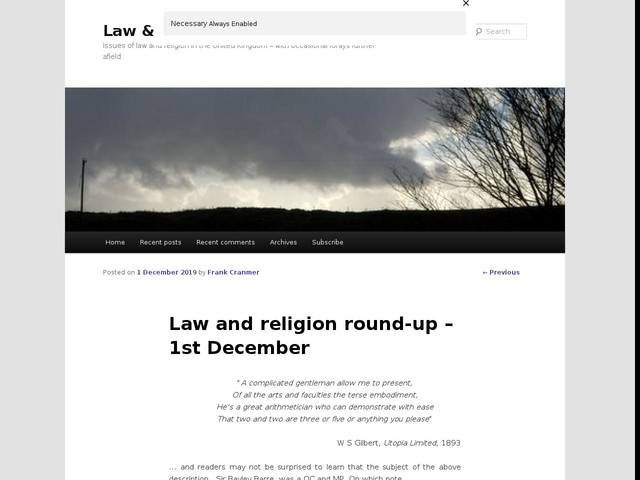 Law and religion round-up – 1st December