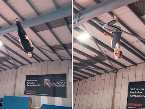Freerunners appear to walk on the ceiling in incredible upside down trampoline parkour stunt