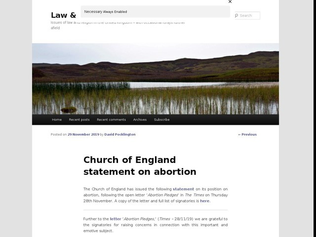 Church of England statement on abortion