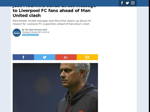 Jose Mourinho sends direct message to Liverpool FC fans ahead of Man United clash