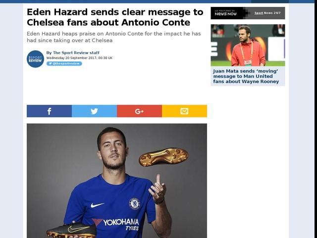 Eden Hazard sends clear message to Chelsea fans about Antonio Conte